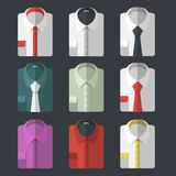 Set of different flat-style shirts. Casual and business-style Royalty Free Stock Photos