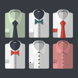 Set of different flat-style shirts with ties and bowties. Casual and business-style Stock Images