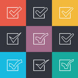 Set of different flat vector check marks Royalty Free Stock Image