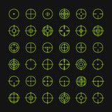 Set of different flat vector crosshair sign icons Royalty Free Stock Photo