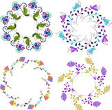Set of different floral bouquets, floral frames vector clip art,colorful and bright floral wreath Stock Photos