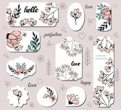 Set with different floral labels. royalty free illustration