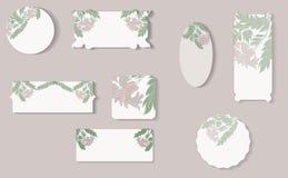 Set of different floral paper labels. royalty free illustration