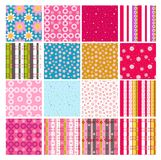 Set of different floral patterns. Set of 16 different floral seamless patterns stock illustration
