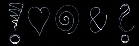 Set of different flourescent symbols Stock Photography