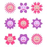 Set of different flowers with human smiling faces. Multicolored illustrations in cartoon style isolated on white background stock illustration