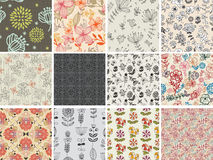 Set of different flowers seamless pattern Stock Photography