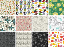 Set of different flowers seamless pattern Royalty Free Stock Photo