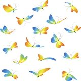 Set different flying butterflies. Flying butterflies, colorful different butterflies, collection art butterflies, isolated on white background, icon set royalty free illustration