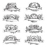 Set of different food banners. Set of eight monochrome different food banners Royalty Free Stock Photo