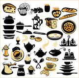 Set of different food - bread, pie, biscuit, cakes, eaggs, omele Royalty Free Stock Photo