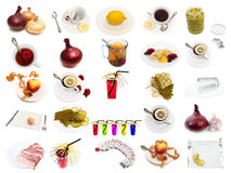 Set from different food and drinks items Royalty Free Stock Photo