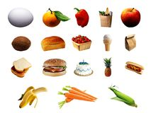 Set of different food items Stock Photography