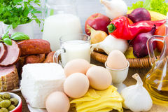 Set different foods healthy diet Stock Image
