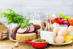 Set different foods healthy diet Stock Photos