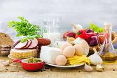 Set different foods healthy diet Stock Images