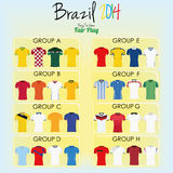 Set Of Different Football Soccer Uniform Shirts Stock Photo