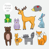 Set of different forest animals in cartoon style Royalty Free Stock Image