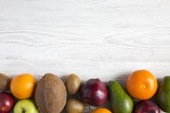 Set of different fresh organic fruits. Copy space and text area. Top view. Flat lay stock image