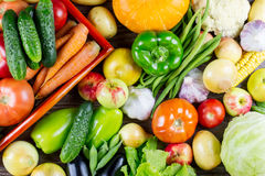 Set of different fresh raw colorful vegetables, autumn harvest. Top view Stock Photo