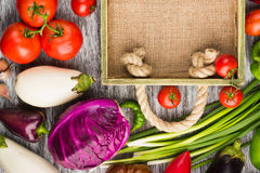 Set of different fresh raw colorful vegetables in the wooden tray. Light background Stock Images