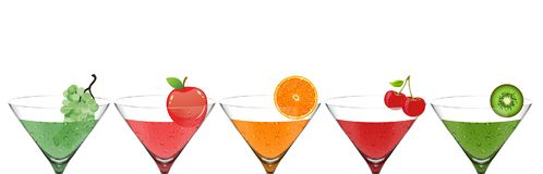Set of a different fruit cocktails stock illustration