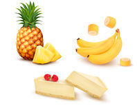 Set of different fruit and desert. Stock Photo