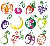 Set of different fruits Royalty Free Stock Photography