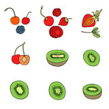 Set of different fruits. Doodle set of different fruits isolated on white background Stock Photography