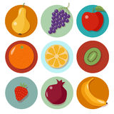 Set of Different Fruits. Fruits Icons Stock Images