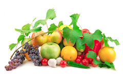 Set of different fruits and vegetables royalty free stock image