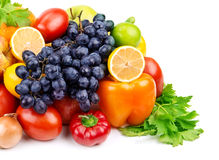 Set of different fruits and vegetables royalty free stock photography
