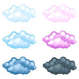 Set of different funny cartoon fluffy clouds Stock Photos