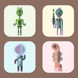 Set of different funny cartoon monsters cute alien characters and creature happy illustration devil colorful animal Stock Photography
