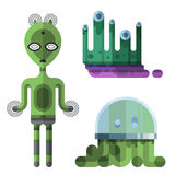 Set of different funny cartoon monsters cute alien characters and creature happy illustration devil colorful animal Stock Photo