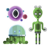 Set of different funny cartoon monsters cute alien characters and creature happy illustration devil colorful animal Royalty Free Stock Photos
