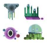 Set of different funny cartoon monsters cute alien characters and creature happy illustration devil colorful animal Stock Image