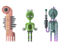 Set of different funny cartoon monsters cute alien characters and creature happy illustration devil colorful animal Stock Photos