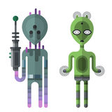 Set of different funny cartoon monsters cute alien characters and creature happy illustration devil colorful animal Royalty Free Stock Images