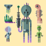 Set of different funny cartoon monsters cute alien characters and creature happy illustration devil colorful animal Royalty Free Stock Photography