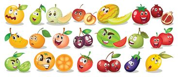 Set of different funny foods. Illustration stock illustration