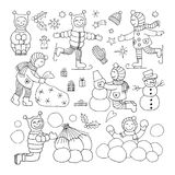 Set of different funny kids icons Royalty Free Stock Photo