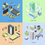 Set of different furniture elements for rooms in modern home. Vector isometric illustrations of kitchen, bedroom, living. Room, and bathroom. Living room Stock Photography