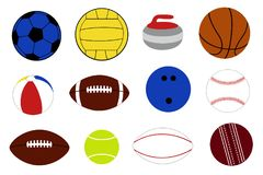 Set of different game balls. Isolated on white Royalty Free Stock Image
