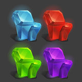 Set of different game resources cartoon crystals. Royalty Free Stock Photos