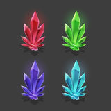 Set of different game resources cartoon crystals. Royalty Free Stock Photography