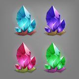 Set of different game resources cartoon crystals. Stock Photo