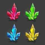 Set of different game resources cartoon crystals. Stock Photos
