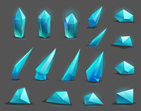 Set of different game resources cartoon crystals. Royalty Free Stock Photo