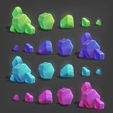 Set of different game resources cartoon crystals. Stock Image